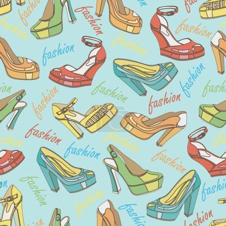 Illustration pour Plusieurs chaussures de mode colorées pour femmes, chaussures ouvertes, chaussures à talons hauts, chaussures magnifiques, chaussures à bout ouvert dans un motif sans couture, ornement, fond, tissu, Fond d'écran, papier d'emballage. - image libre de droit
