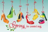 Colorful fashion women's High heel shoes hang on ribbon