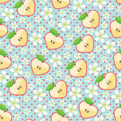 Apple in halves of heart shaped polka dot and Flowers on the blue background  Cartoon  ornamentRetro style shebi chic Vector seamless pattern background packingWallpaperfabricchildren's figure Pastel colors
