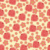 Halves of pomegranate fruit  in heart shaped and Flowers on the blue background  Cartoon  ornament Retro style shebi chic Vector seamless pattern background packingWallpaperfabricchildren's figure Pastel colors