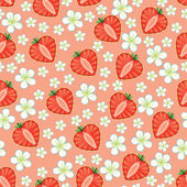 Halves of  strawberry in heart shaped and Flowers on the blue background Cartoon  ornament Retro style shebi chic Vector seamless pattern background packingWallpaperfabricchildren's figure Pastel colors