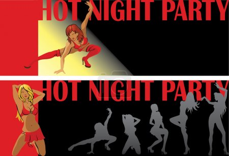 Dancing female.Night party.Two invitational ticket