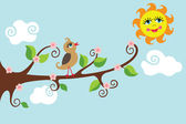 The little bird singing on the branch of a tree with petals and flowers in cartoon-style children's drawings