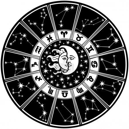 Illustration pour Le cercle de l'Horoscope avec signes du zodiaque et constellations du zodiaque. A l'intérieur du symbole du soleil et de la lune. Style rétro. Illustration vectorielle en noir et blanc. - image libre de droit