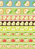 Applehearts and flowers on the seamless border setRetro styleCartoon  ornamentPastel colors
