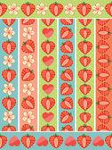 Strawberryhearts and flowers on the seamless border setRetro styleCartoon  ornamentPastel colors