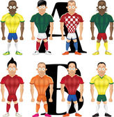 Vector cartoon illustration of soccer players isolated