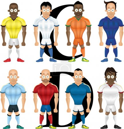 Vector cartoon illustration of soccer players, isolated