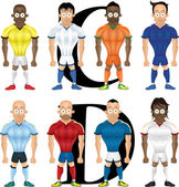Vector cartoon illustration of soccer players isolated front view