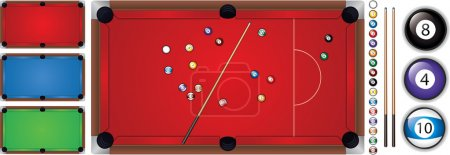 Vector illustration of snooker table