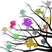 Illustration of a flock of birds in a variety of cheerful colors