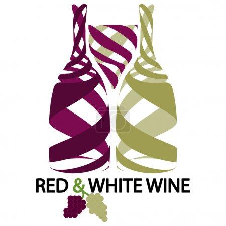 Illustration pour Illustration du vin rouge et blanc comme fond . - image libre de droit