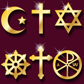 Illustration gold religious symbols on maroon background