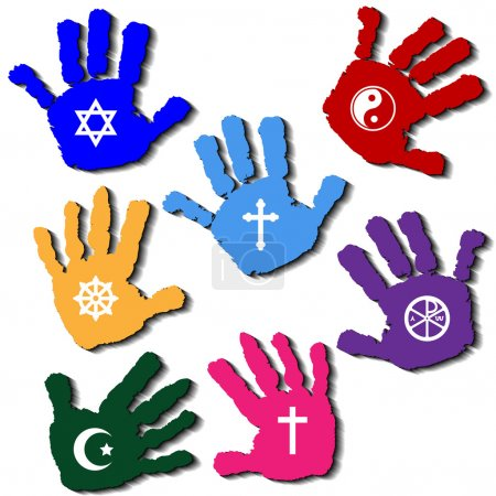 Illustration of hands of believers with religious ...