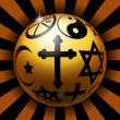 Illustration of glossy balls with religious symbol...
