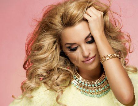 Portrait of blonde sensual woman