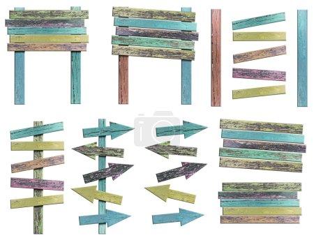 Photo pour Vieux grunge en bois signe sur fond blanc (enregistrer le chemin d'accès) pour des travaux de conception - image libre de droit