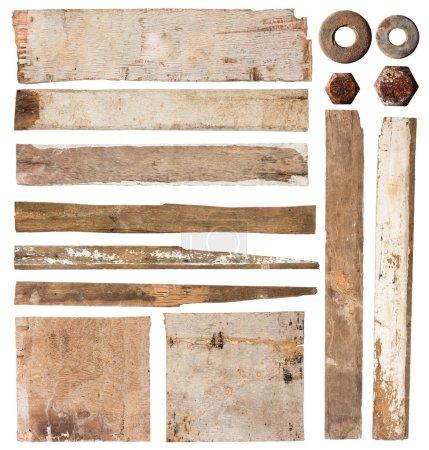 Photo pour Vieille planche de bois isolée sur fond blanc, Save Paths Pour le travail de conception - image libre de droit