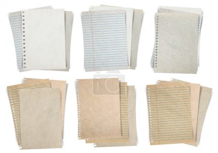 Paper sheets. Stacks of papers  lined papers and note papers isolated on white background