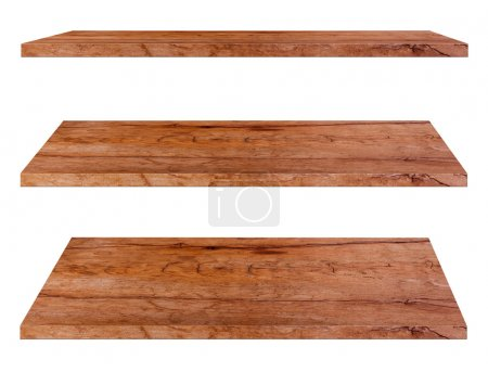 Photo for Wooden shelves isolated on white background, Objects with Clipping Paths for design work - Royalty Free Image