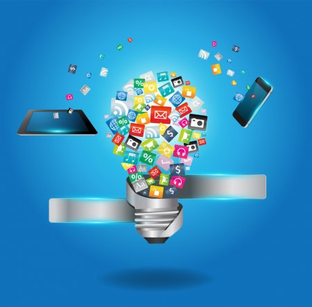 Photo for Creative light bulb with cloud of colorful application icon, Business software and social media networking service concept, Vector illustration modern template design - Royalty Free Image