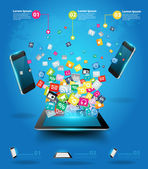 Creative tablet computer with mobile phones cloud of colorful application icon