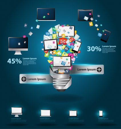 Illustration for Technology business software and social media computer networking service concept, Creative light bulb with cloud of colorful application icon, Vector illustration modern template design - Royalty Free Image
