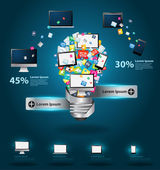 Technology business software and social media computer networking service concept Creative light bulb with cloud of colorful application icon