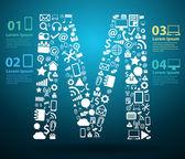 Application icons alphabet letters design