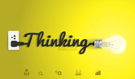 Illustration for Thinking concept modern design template, Creative light bulb idea abstract infographic workflow layout, diagram, step up options, Vector illustration - Royalty Free Image