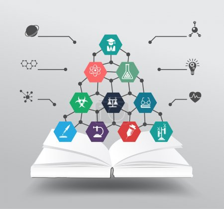 Vector book with chemistry and science icon education concept
