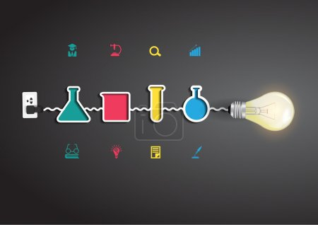 Vector creative light bulb idea with chemistry and science icon