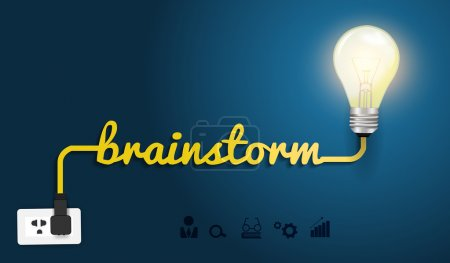 Illustration for Brainstorm concept with creative light bulb idea, Vector illustratio - Royalty Free Image