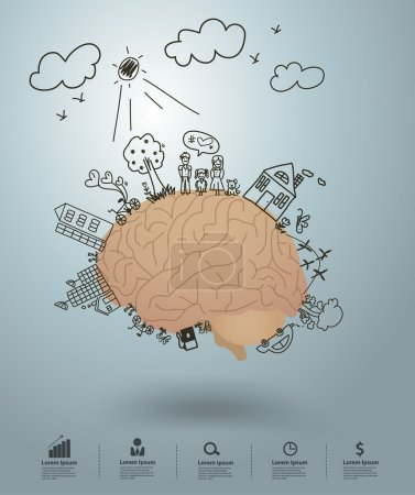 Illustration for Ecology concept, Creative drawing on brain environment with happy family stories concept idea, Vector illustration modern design template - Royalty Free Image