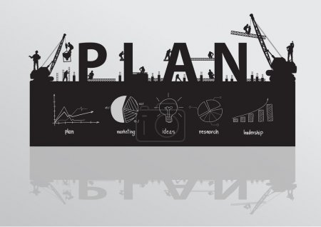 Construction site crane building plan text idea concept