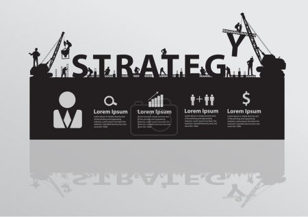 Construction site crane building strategy  text idea concept