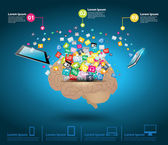 Creative cloud of colorful application icon with brain idea concept