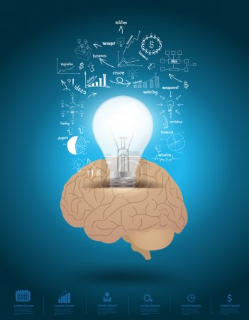 Illustration for Creative light bulb with brain drawing business strategy plan concept idea. Vector illustration Modern template Design - Royalty Free Image