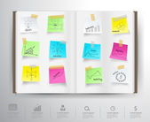Book with drawing charts and graphs business strategy plan concept idea on paper sticker