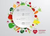 Modern business bubble speech template with fruits and vegetables healthy food icons