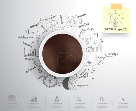 Illustration for Coffee cup on drawing business strategy plan concept idea. Workflow layout, diagram, step up options. Vector illustration modern template design - Royalty Free Image