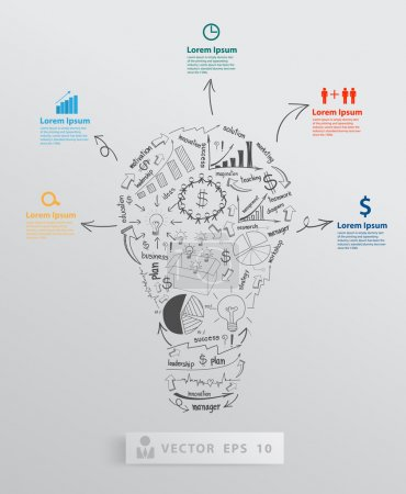 Illustration for Creative light bulb with element drawing business success strategy plan concept idea. Vector illustration modern template Design - Royalty Free Image