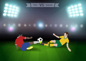 Two football players in jump to strike the ball at the stadium Soccer players chile versus australia Brazil 2014 group B Vector illustration modern design template