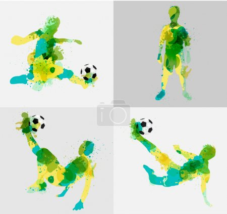 Vector soccer player kicks the ball with paint splatter design