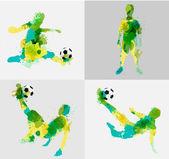 Vector soccer player kicks the ball with paint splatter design