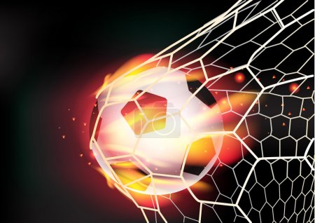 Vector soccer ball in goal net on fire flames