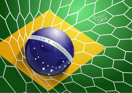 Soccer ball in net with brazil flag