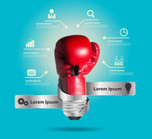 Creative light bulb and powerful ideas business with glowing box