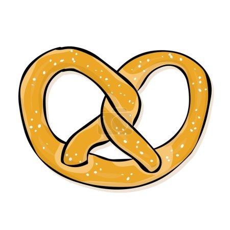 hand drawn pretzel. Beer snack.