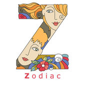 Decorative initial capital letter Z with a face of pretty woman and decorative flowers Vector image